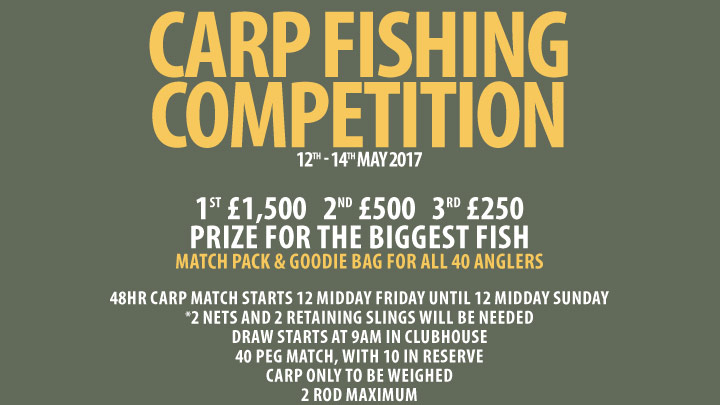 Carp fishing competition poster.