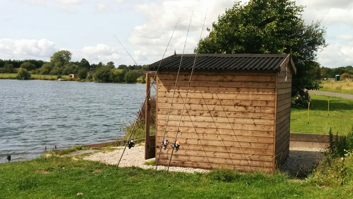 Specimen fishing huts Baden Hall The Quarry